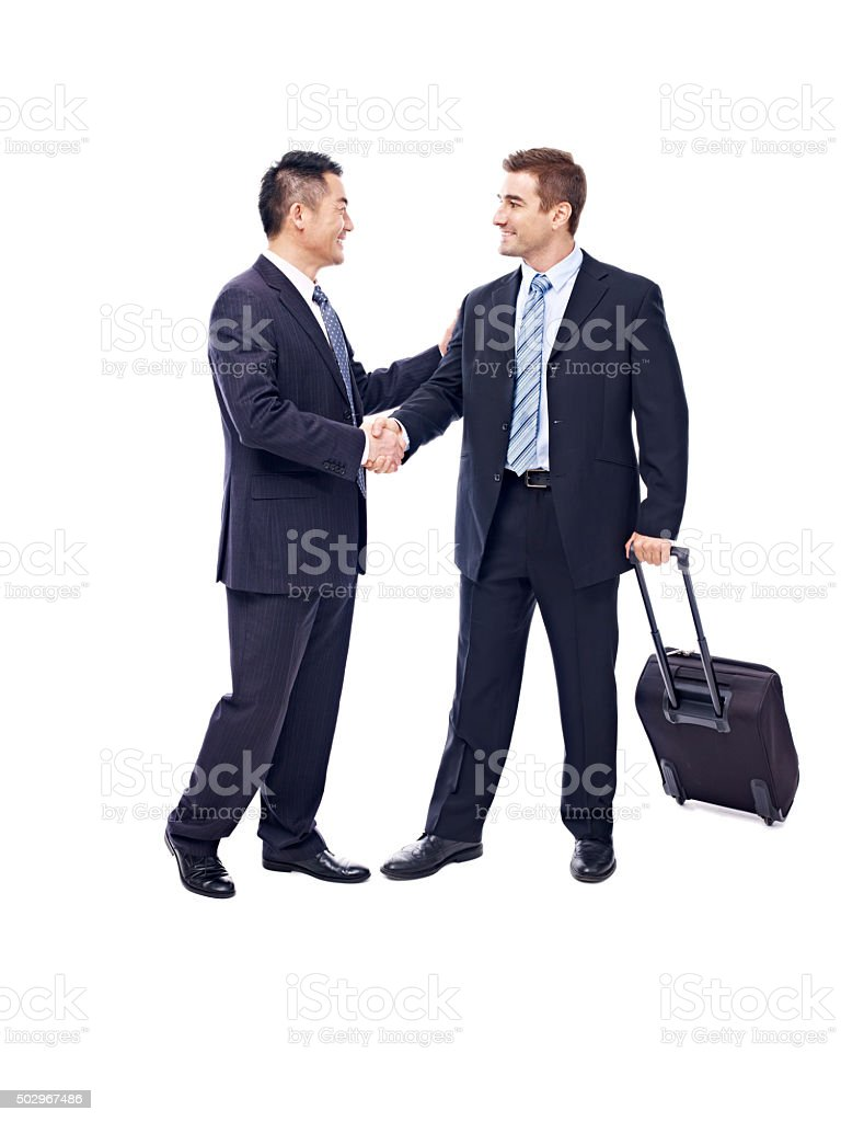 businesspeople meeting each other stock photo