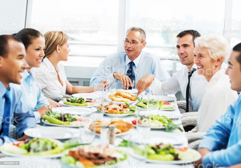 Businesspeople on a lunch stock photo