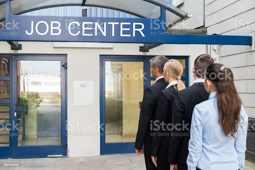 Businesspeople Outside The Job Center stock photo