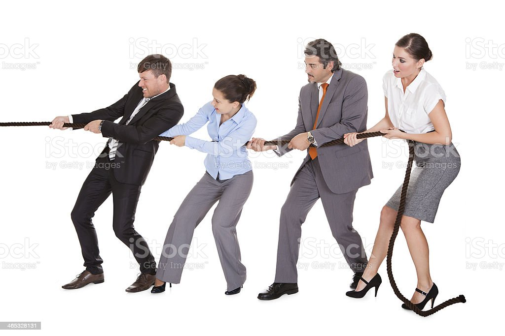Businesspeople Pulling Rope stock photo