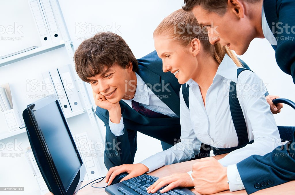 Businesspeople. Screen has a clipping path. royalty-free stock photo
