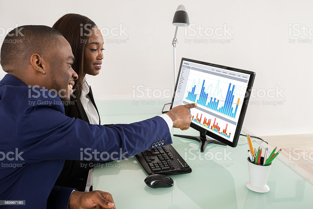 Businesspeople Showing Their Success Teamwork stock photo