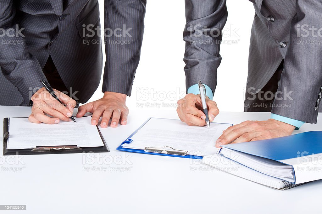 businesspeople sign up contract royalty-free stock photo