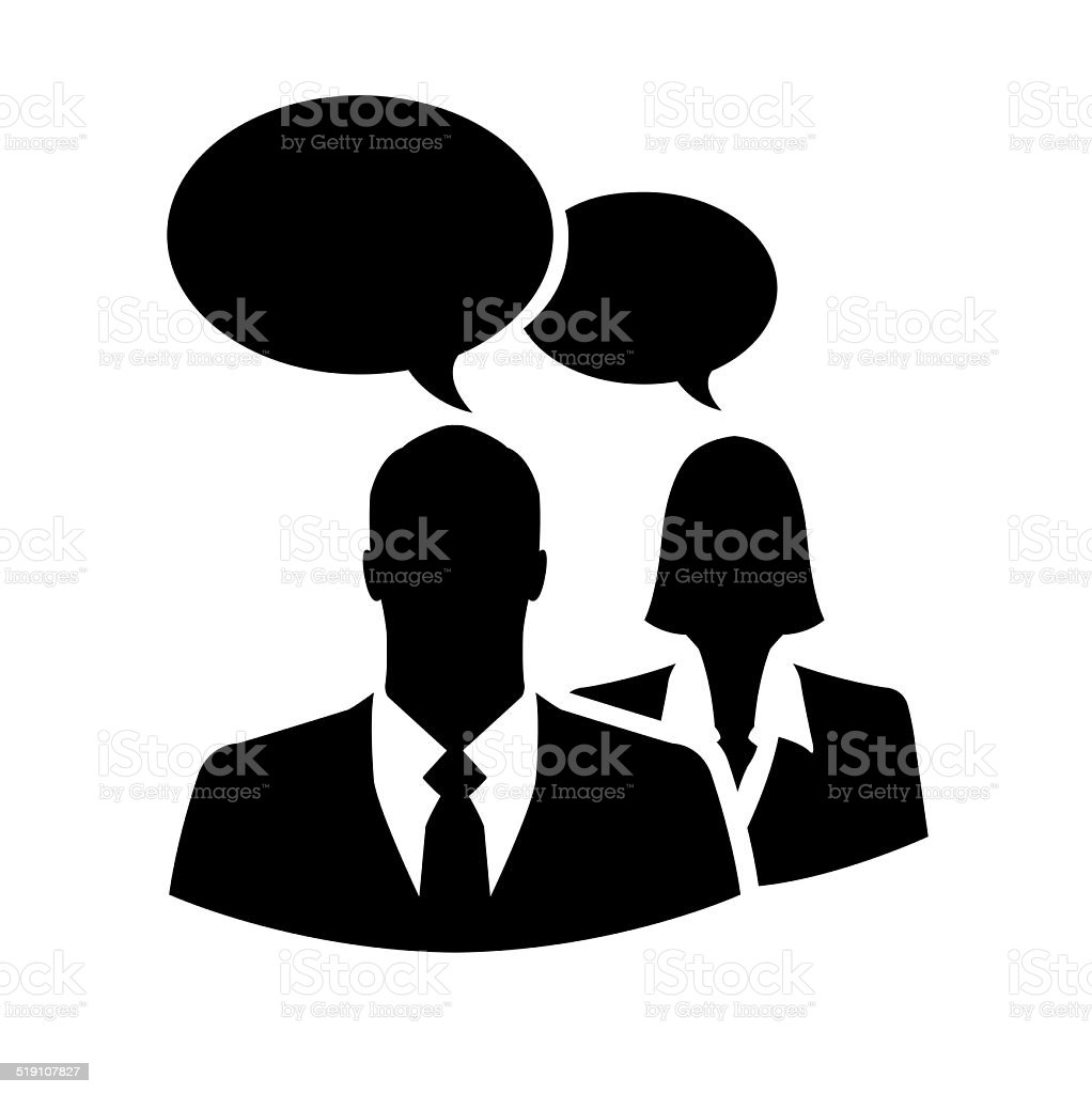 Businesspeople silhouette icon with chatting or comment bubbles stock photo