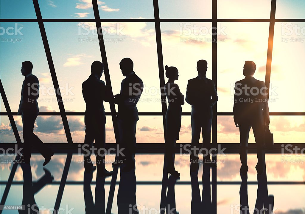 Businesspeople silhouettes stock photo