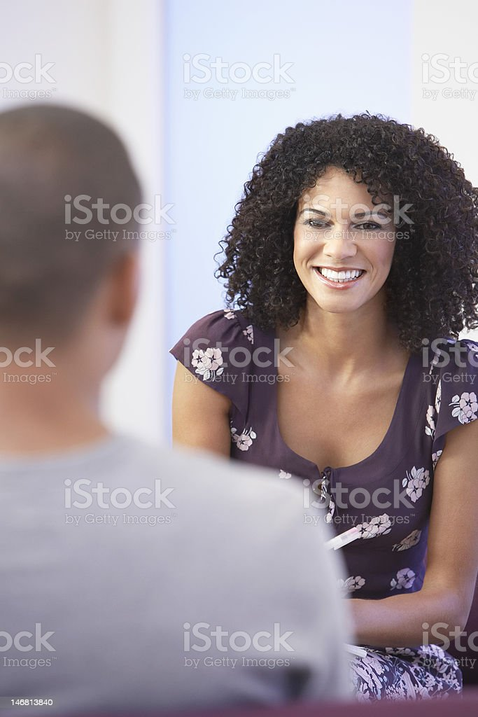 Businesspeople Talking in Office royalty-free stock photo