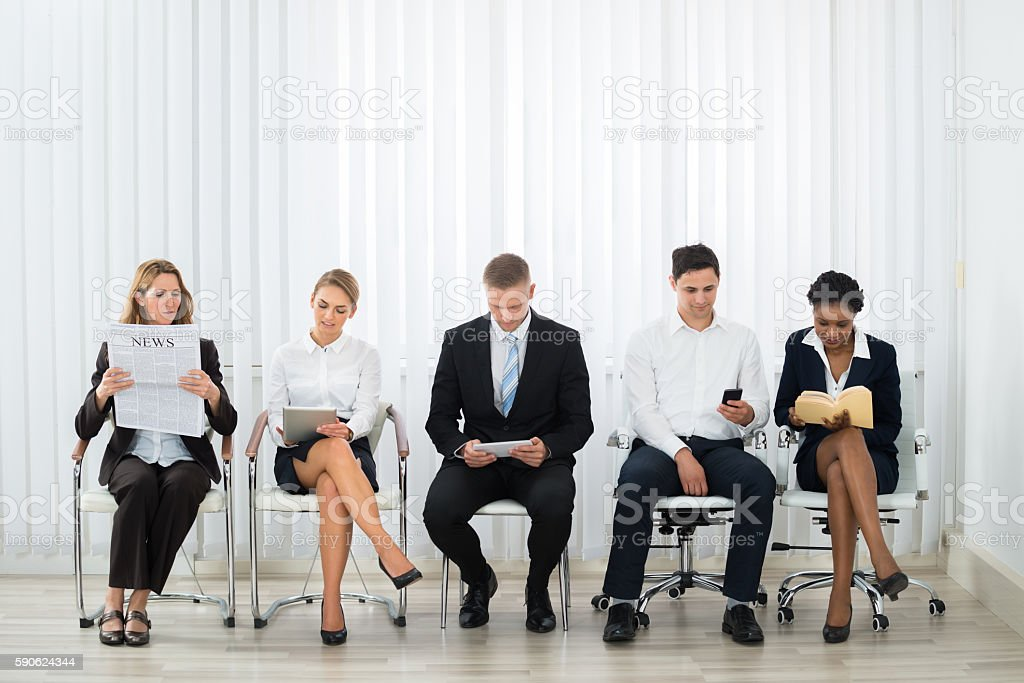 Businesspeople Waiting For Interview stock photo