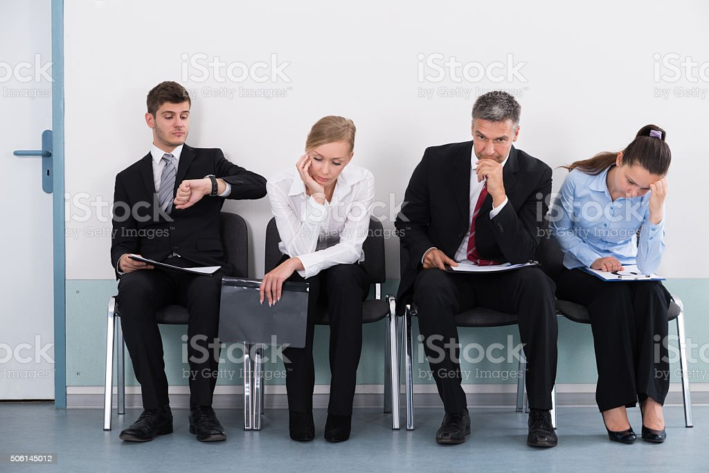 Businesspeople Waiting For Job Interview stock photo