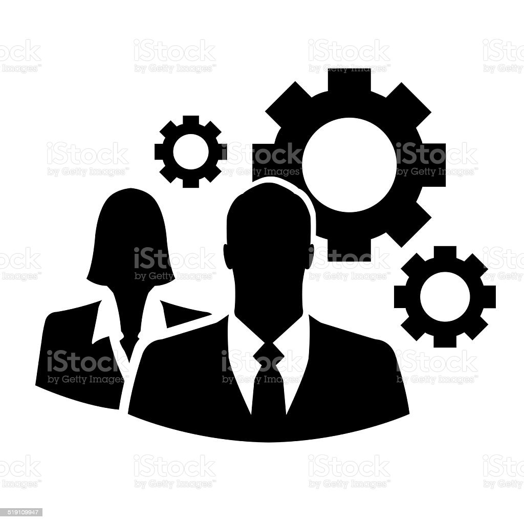 Businesspeople with gear or cog set stock photo