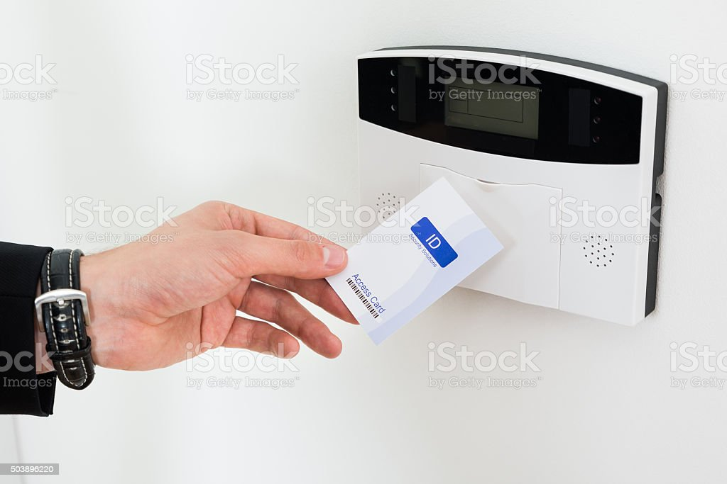 Businessperson Hands Holding Keycard stock photo