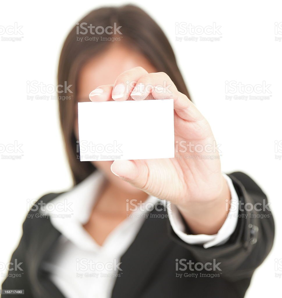 businessperson showing business card royalty-free stock photo
