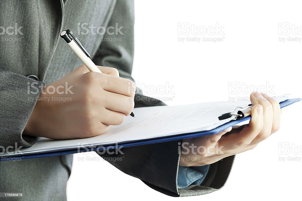 Businessperson signing a contract. royalty-free stock photo