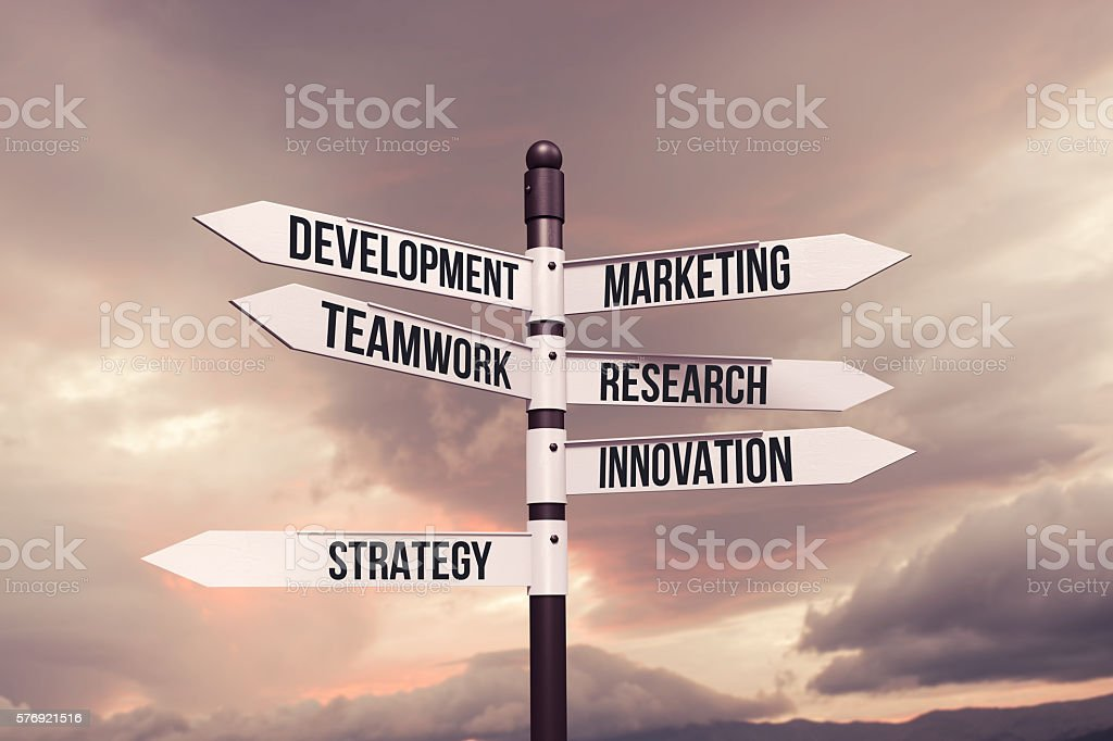 Business,strategy,marketing,development concept with road sign stock photo