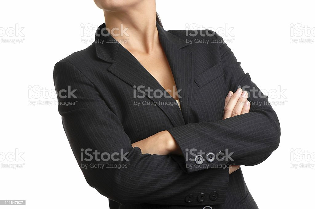 Businesswoma with Arms Crossed on White stock photo