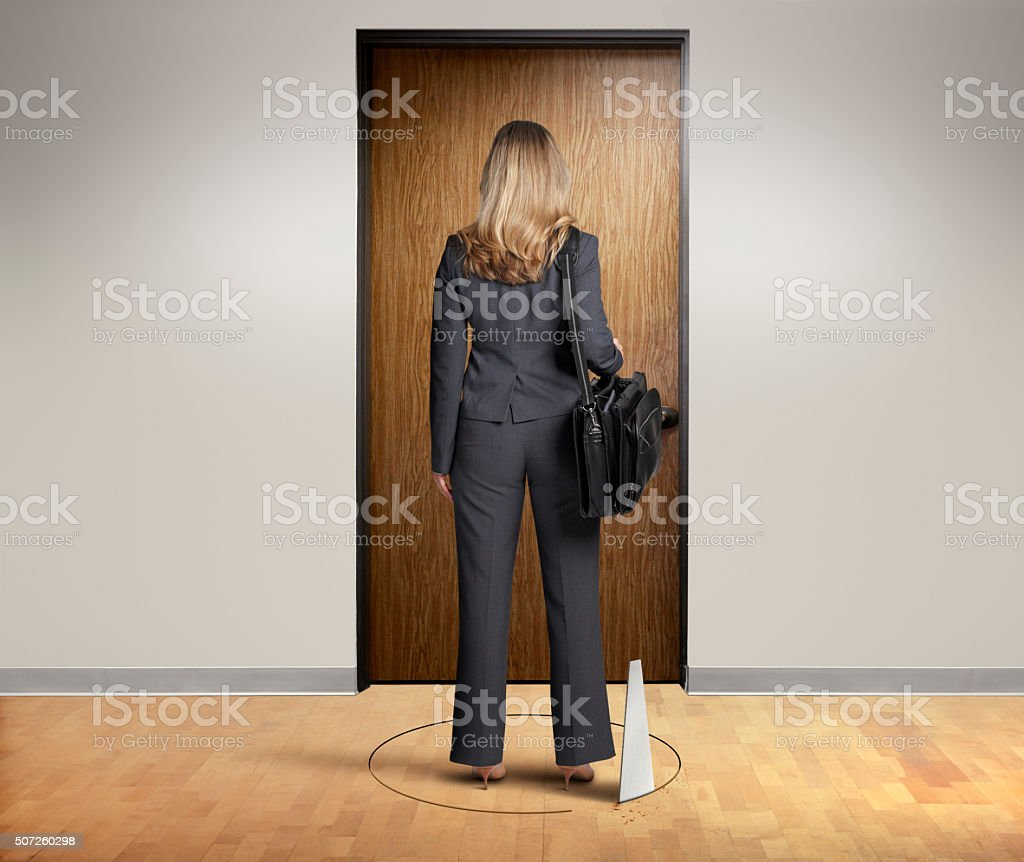 Businesswoman About To Be Sabotaged stock photo
