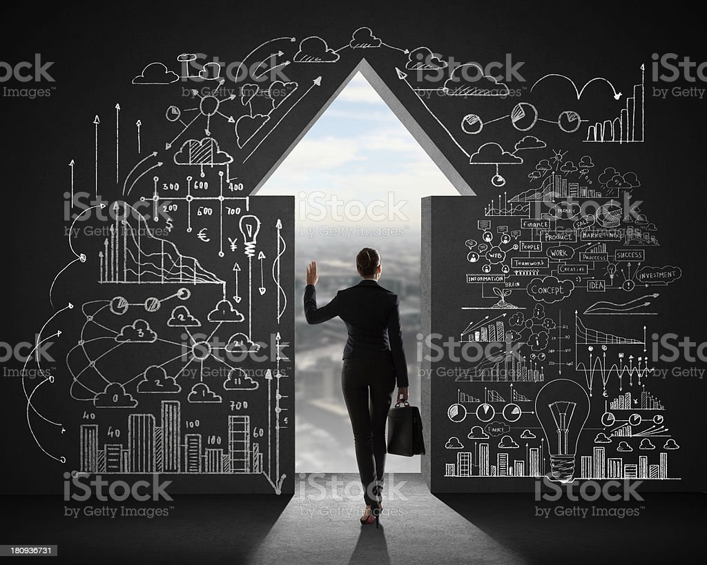 Businesswoman and business plan stock photo