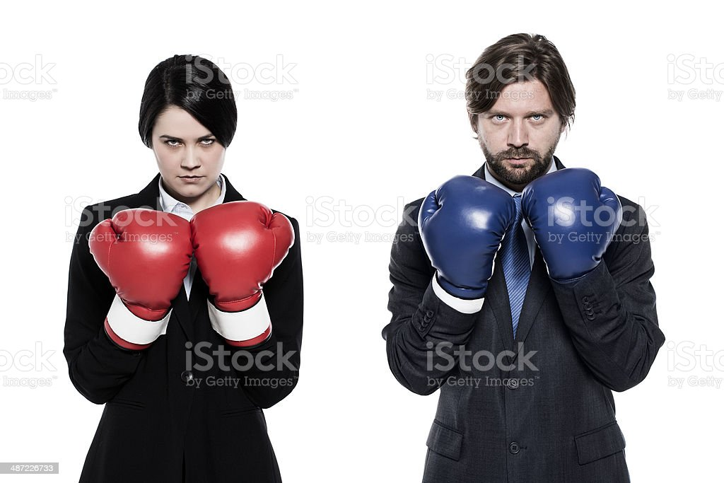 Businesswoman and businessman boxers stock photo