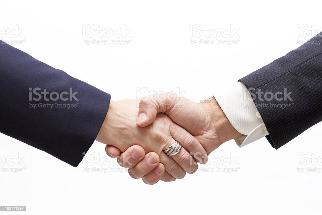 Businesswoman and Businessman Handshaking royalty-free stock photo