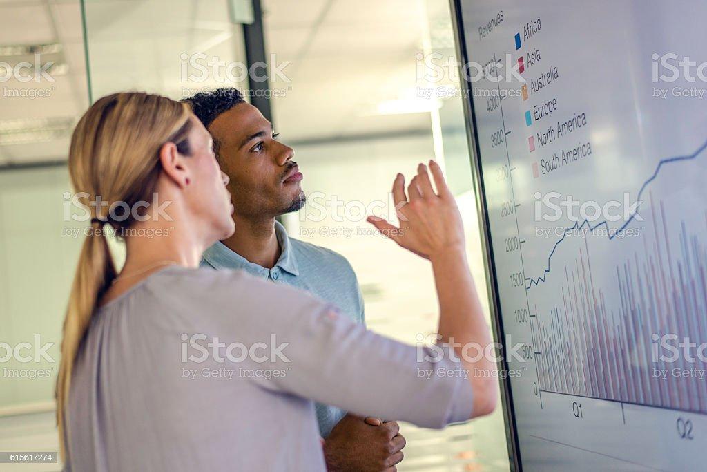 Businesswoman and businessman talking profit stock photo