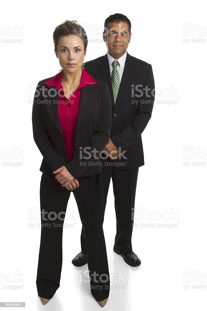 Businesswoman and businessman, white background stock photo