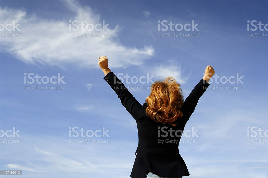 Businesswoman and cloud royalty-free stock photo
