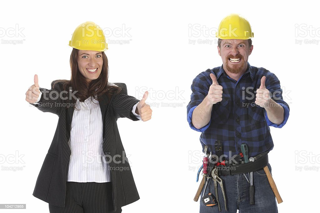 businesswoman and construction worker royalty-free stock photo