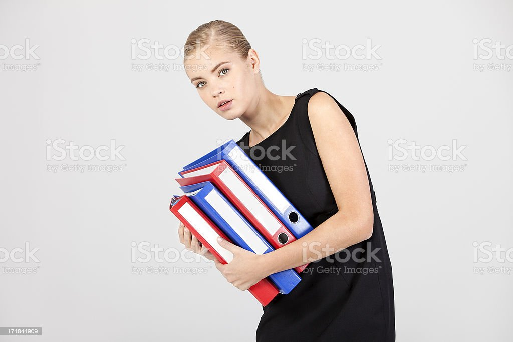 Businesswoman and Folders royalty-free stock photo