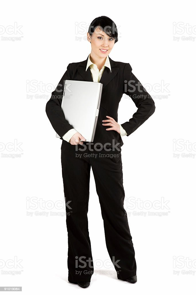 Businesswoman and laptop royalty-free stock photo