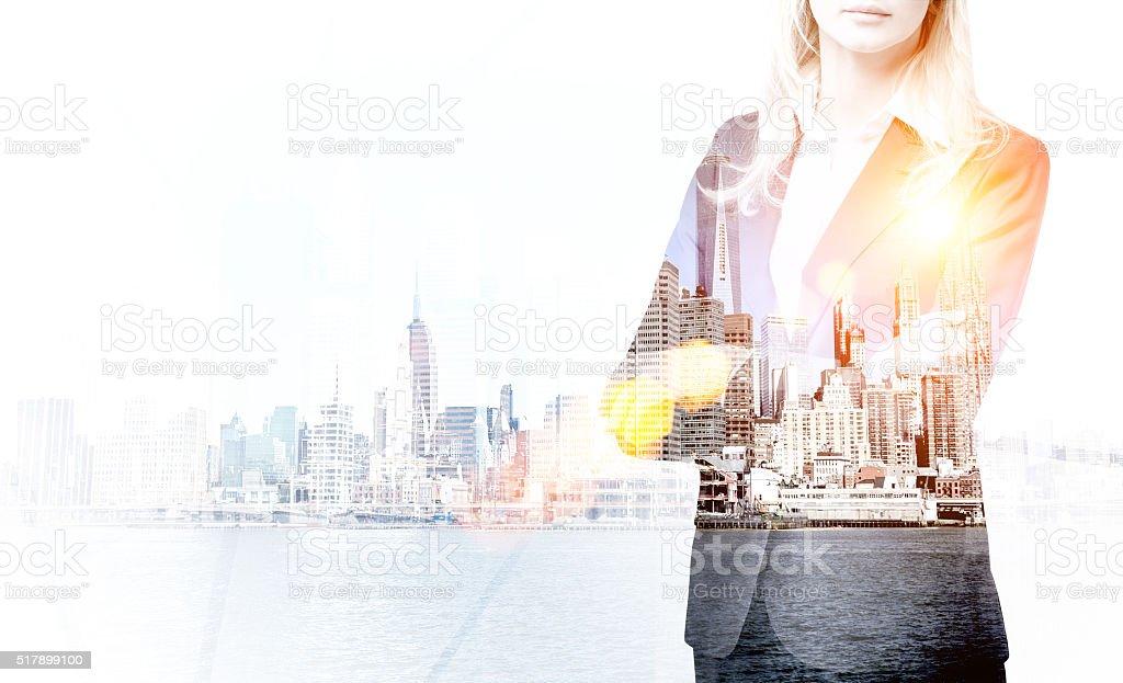 Businesswoman and New York stock photo