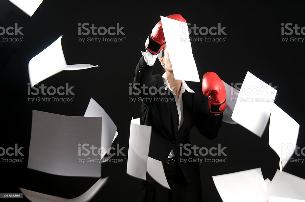 Businesswoman and Paper royalty-free stock photo