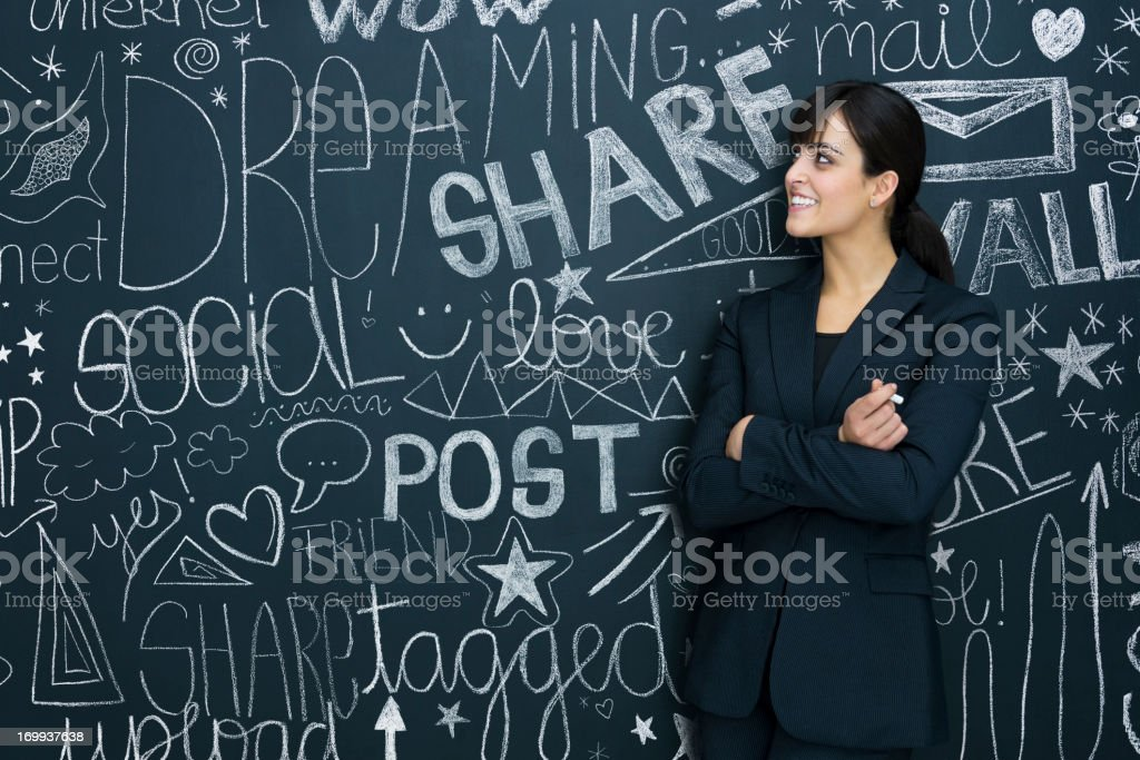 Businesswoman and social networks stock photo