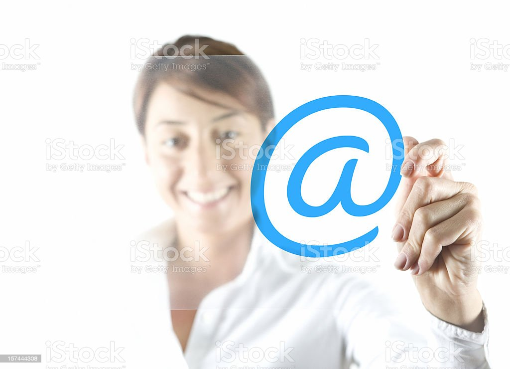 Businesswoman and transparency sheet royalty-free stock photo