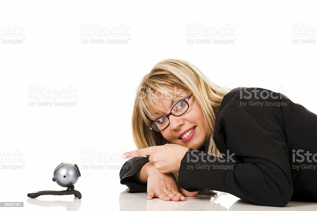 businesswoman and webcam royalty-free stock photo
