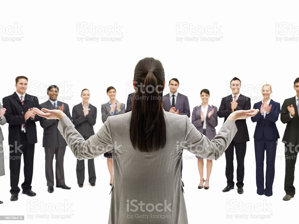 Businesswoman Applauded by Colleagues royalty-free stock photo