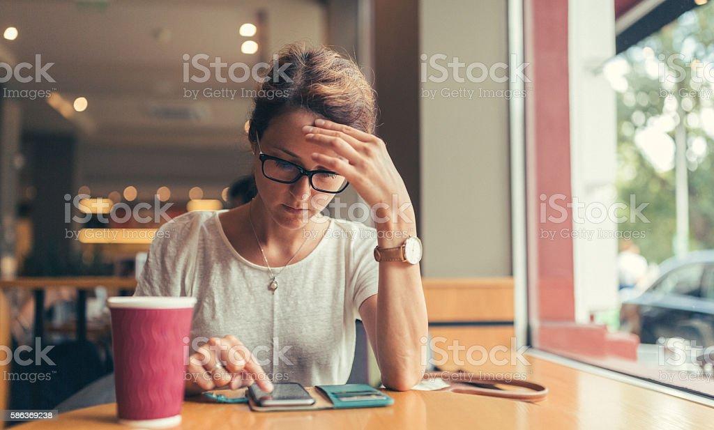 Businesswoman at coffee break stock photo
