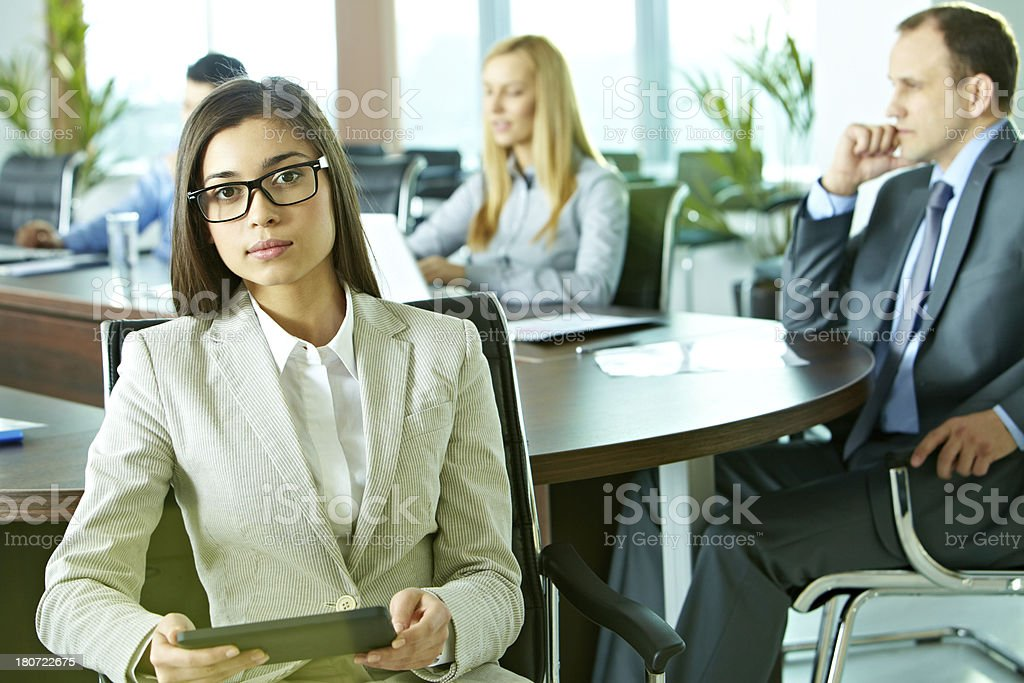 Businesswoman at conference royalty-free stock photo