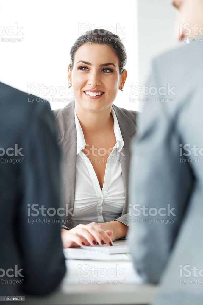 Businesswoman at meeting stock photo