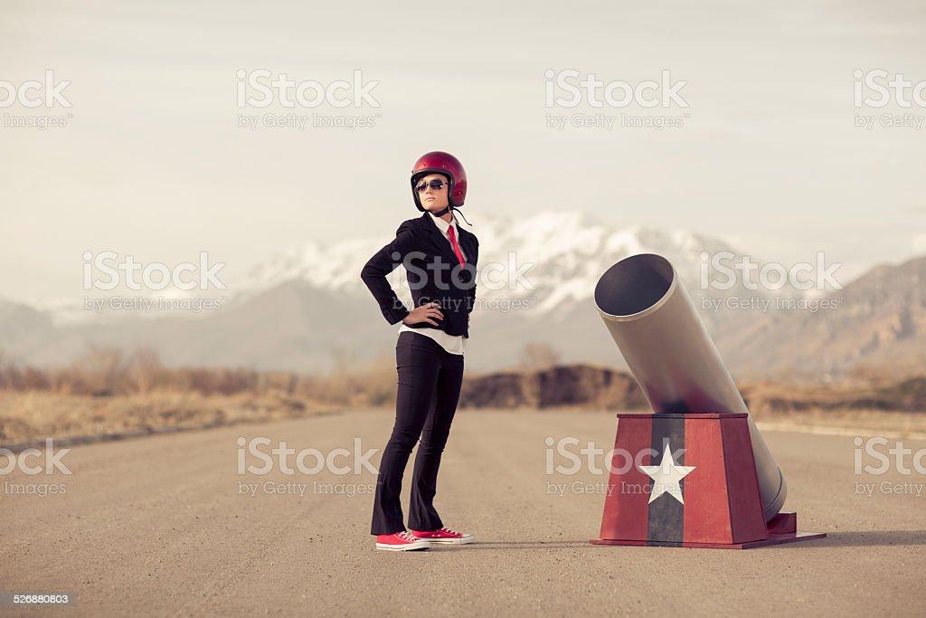 Businesswoman Boom stock photo