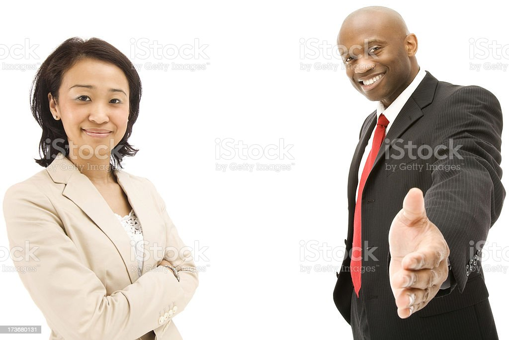 Businesswoman businessman Asian African American ethnic isolated suit royalty-free stock photo