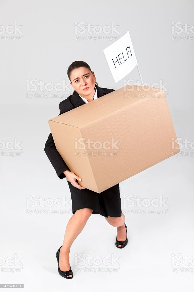 Businesswoman Carrying Brown Box royalty-free stock photo