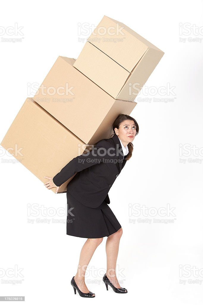Businesswoman Carrying Brown Boxes stock photo