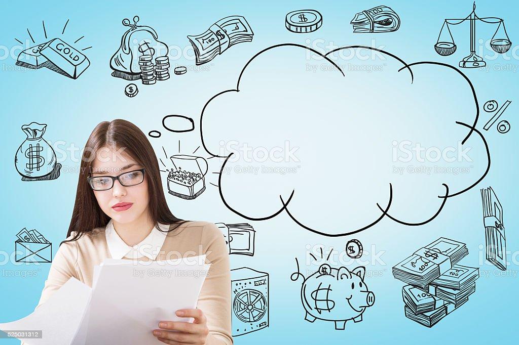 Businesswoman cash and speech cloud stock photo