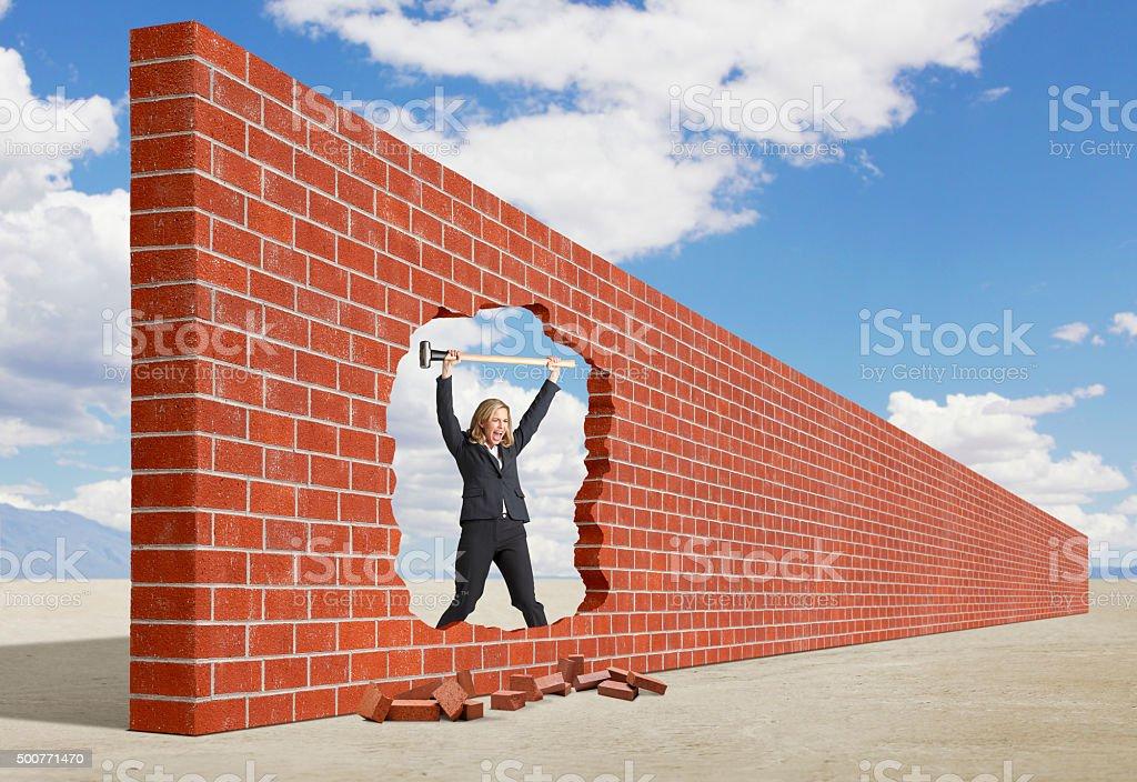 Businesswoman Celebrating Her Breakthrough stock photo