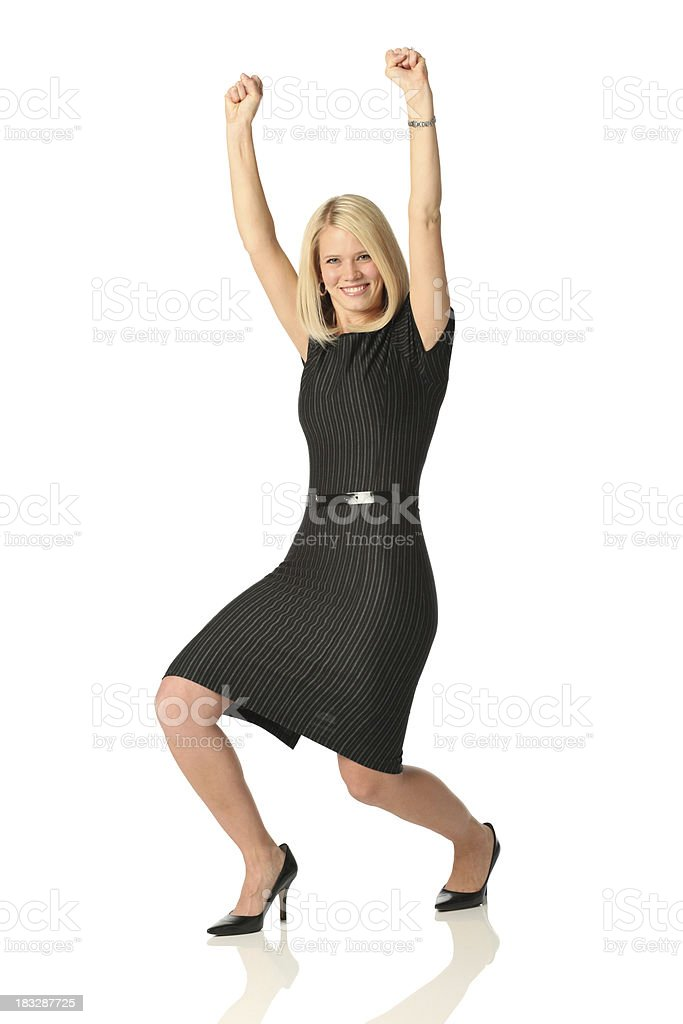 Businesswoman celebrating her success royalty-free stock photo