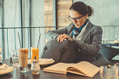 businesswoman checking her purse