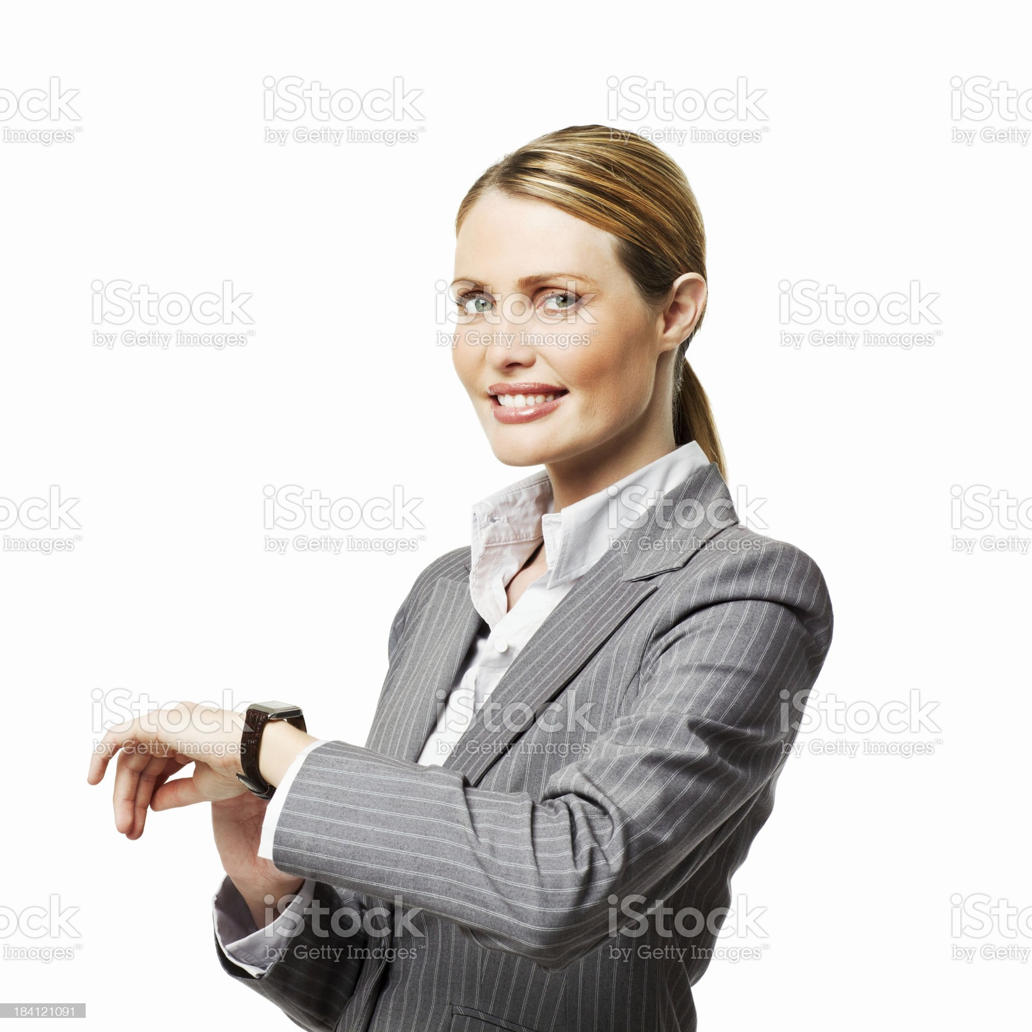 Businesswoman Checking the Time - Isolated royalty-free stock photo