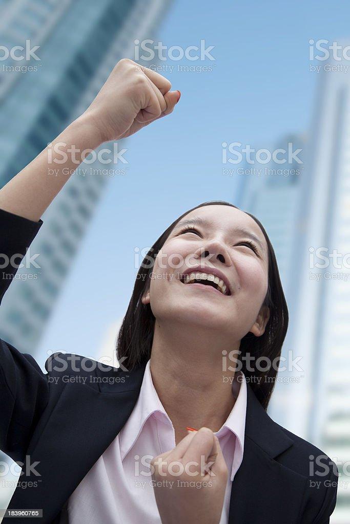 Businesswoman Cheering royalty-free stock photo