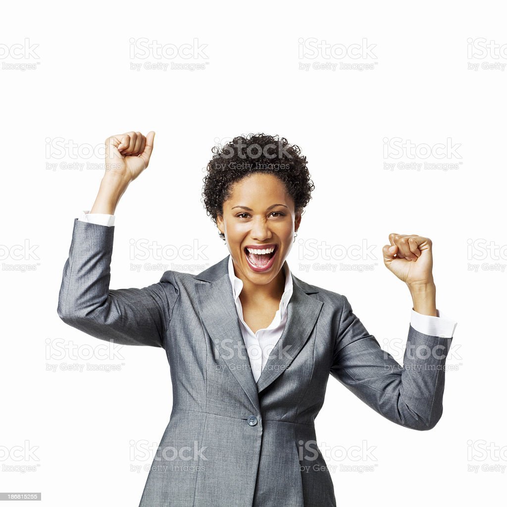 Businesswoman Cheering With Her Arms in the Air - Isolated royalty-free stock photo