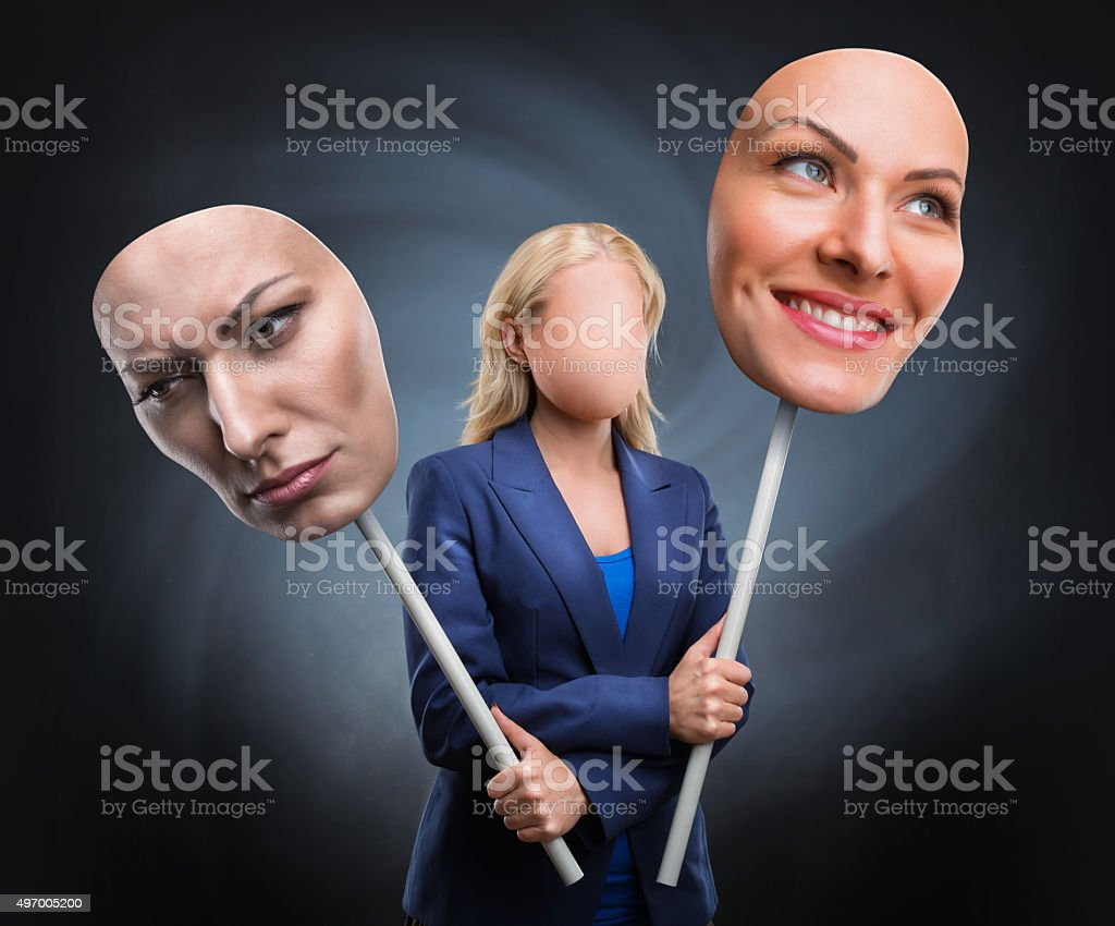 Businesswoman choosing humor stock photo
