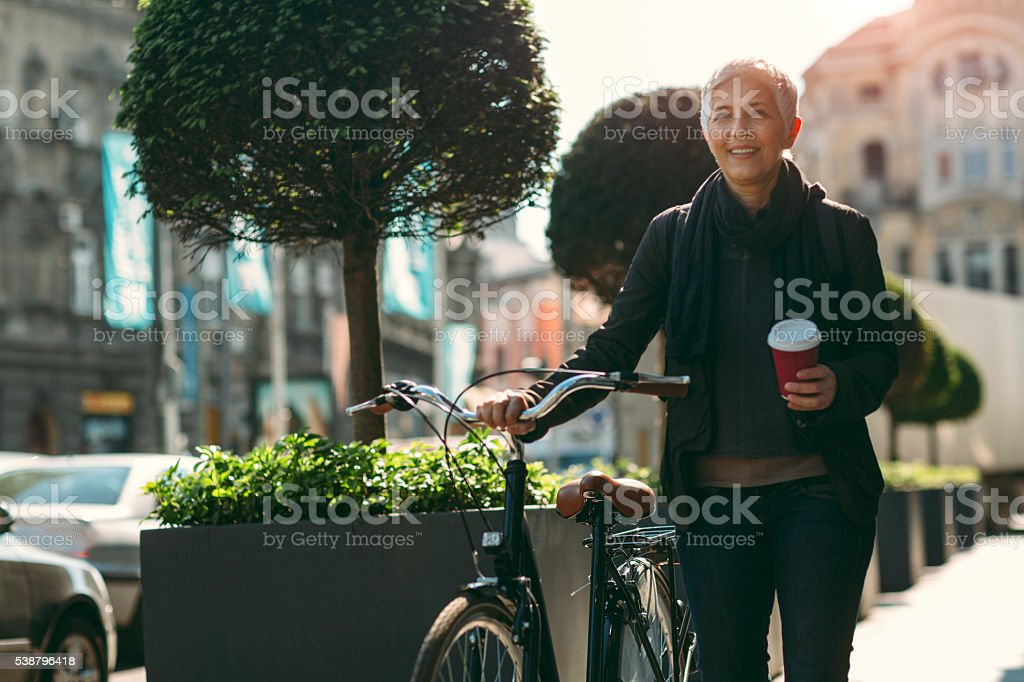 Businesswoman Commuting To Work. stock photo